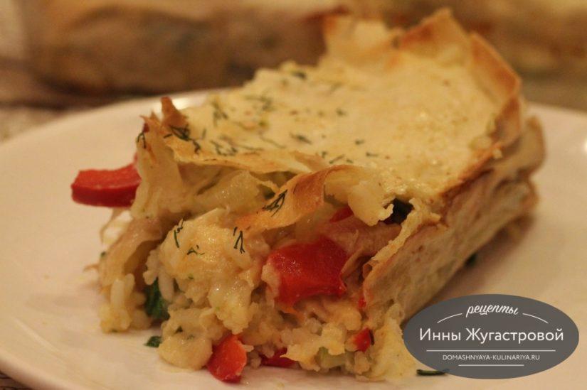Пирог из лаваша с цветной капустой, рисом и зеленым луком