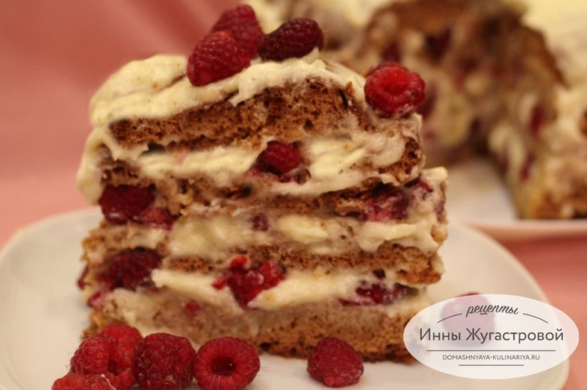 Торт Медовик со свежей малиной и сливочно-заварным кремом