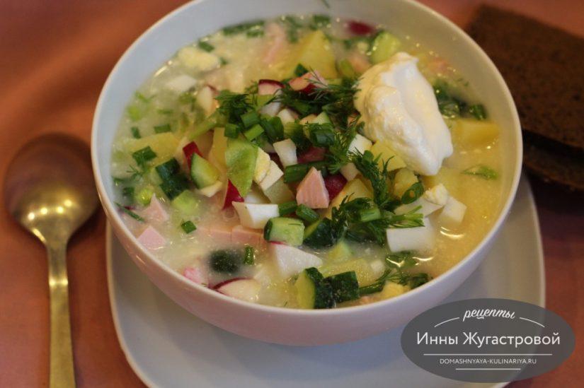 Домашняя окрошка на сыворотке, холодный суп
