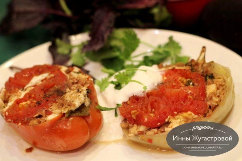 Перец, фаршированный лобио и сыром