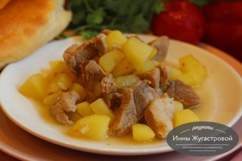 Соус из свинины, картофеля и лука, простое обеденное блюдо на каждый день