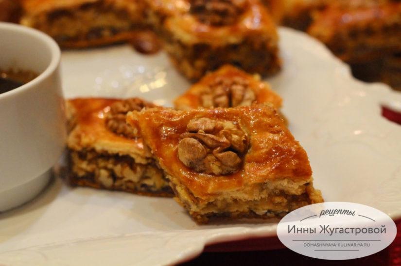Пахлава домашняя медовая с грецкими орехами