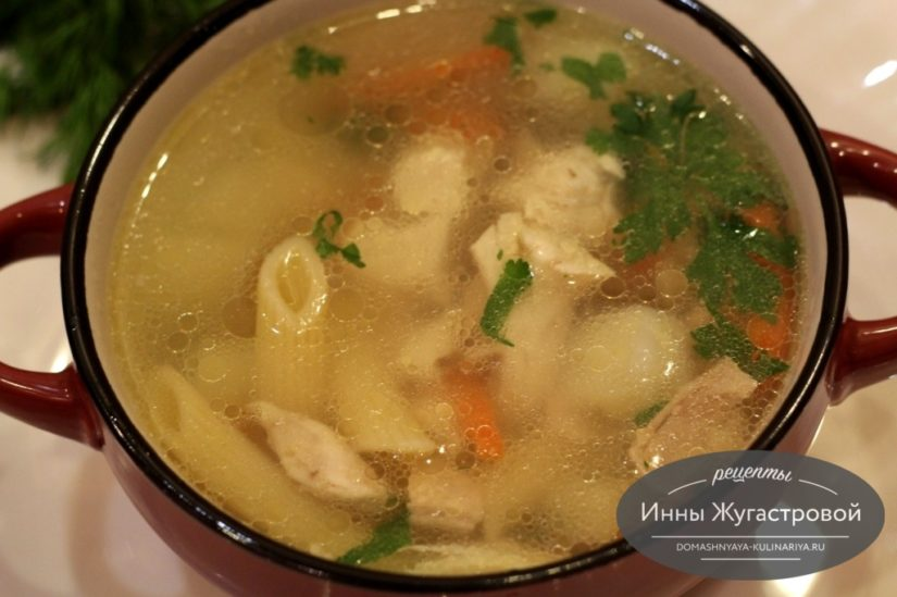 Куриный суп с макаронами (крупной пастой) и картофелем на каждый день