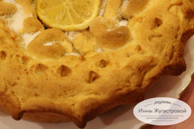 Лимонный пирог из простого дрожжевого теста