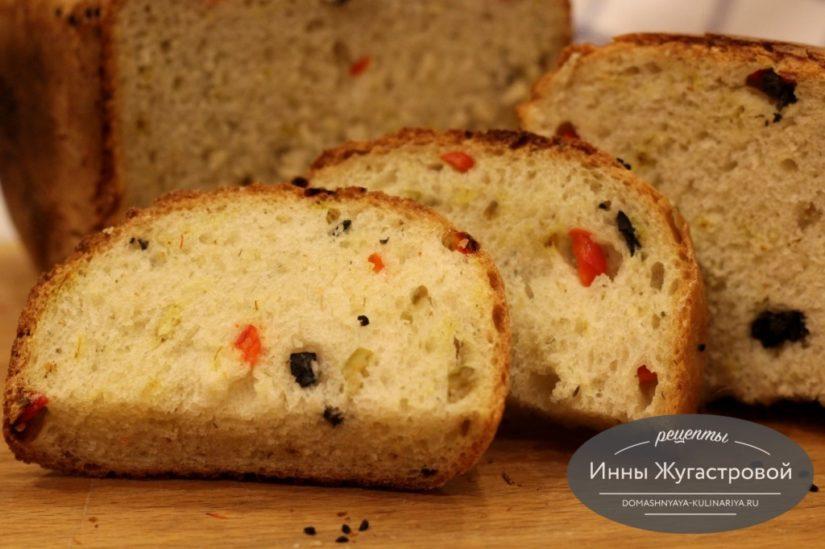 Оливковый хлеб со сладким перцем в хлебопечке, 500 грамм