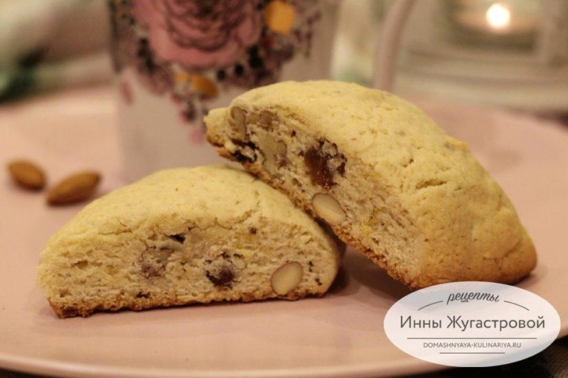 Рассыпчатое сливочное печенье с орехами и изюмом Шакарлотти