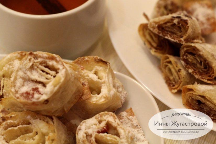 Печенье Творожные и коричные завитки из лаваша