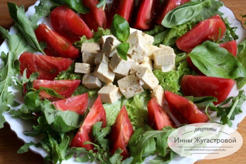 Маринованный тофу с томатами и прованскими травами