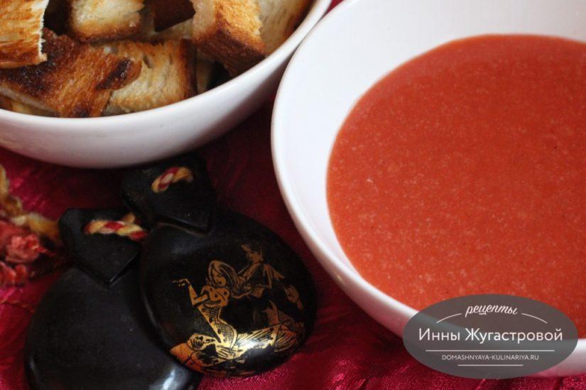 Гаспачо, веганский испанский холодный томатный суп