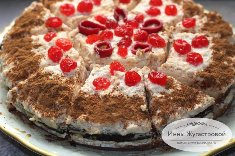 Бисквитный торт Дачный со свежими яблоками и сметанно-яблочным кремом