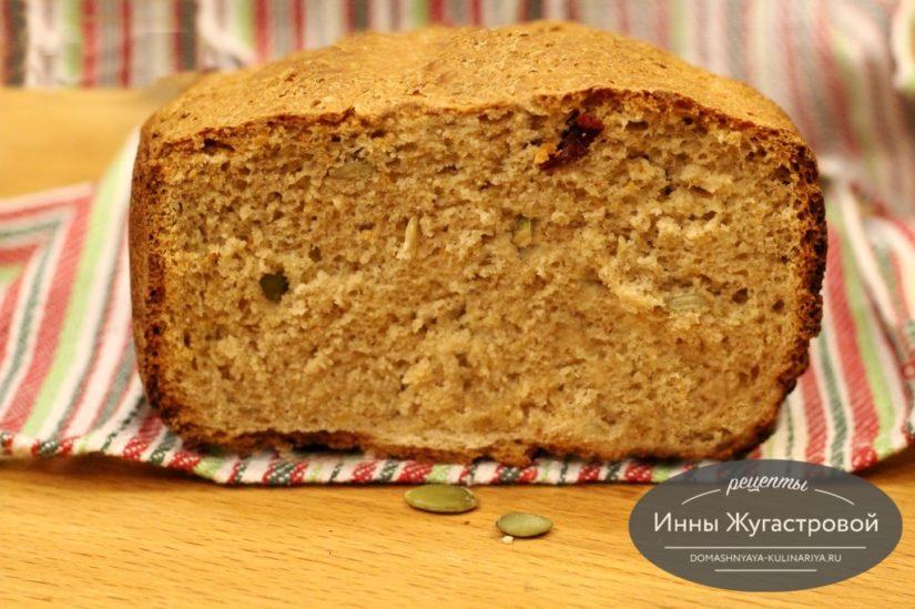 Хлеб в хлебопечке с цельнозерновой мукой и злаками, 500 грамм
