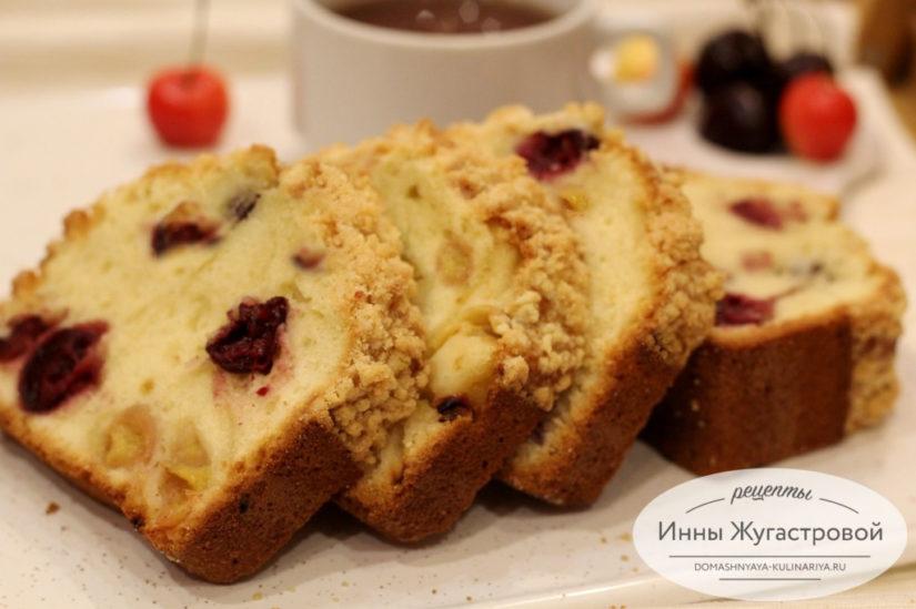 Черешневый кекс со сливочным топингом по простому рецепту