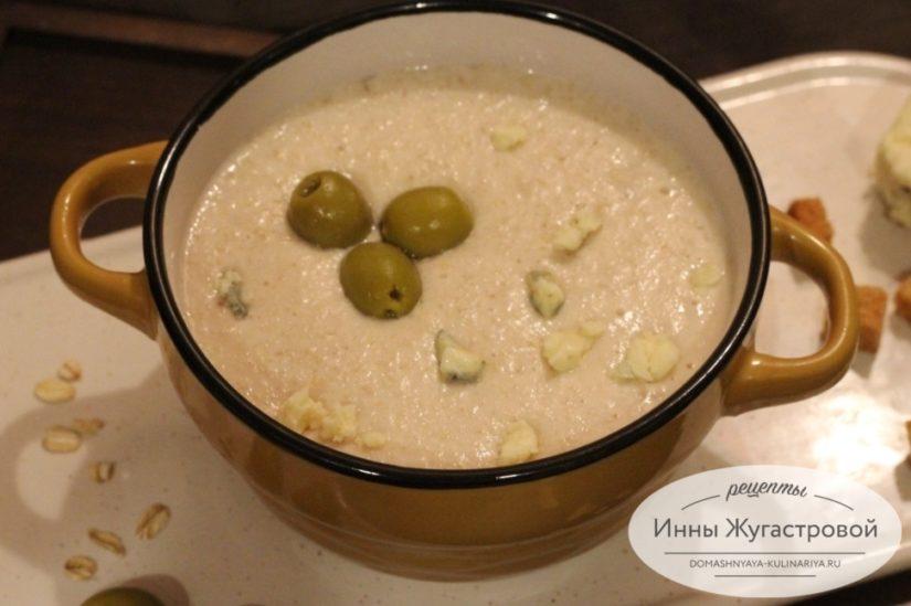 Овсяный суп-пюре из геркулесовых хлопьев с курицей, диетическое блюдо