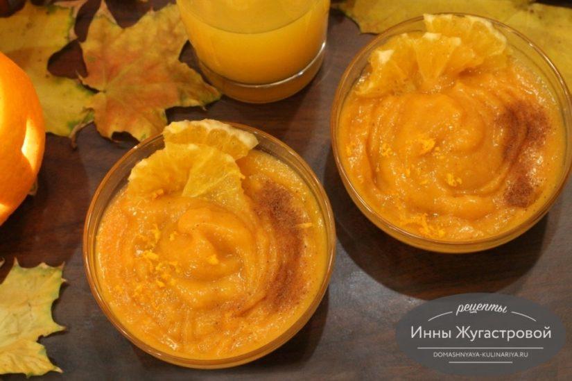 Тыквенный мусс на манке с добавлением апельсинового сока и цедры