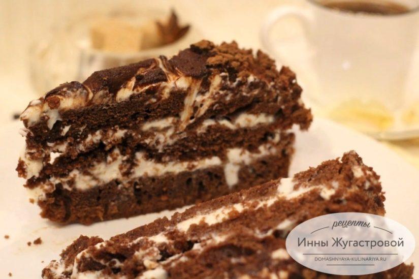 Шоколадный торт на кефире со сметанным кремом Черный принц