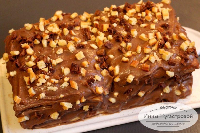 Вафельный торт из мягких вафель со сметанным шоколадным кремом