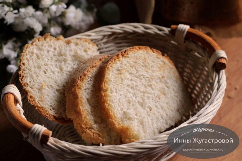 Простой белый пшеничный хлеб в домашней хлебопечке, 400 грамм
