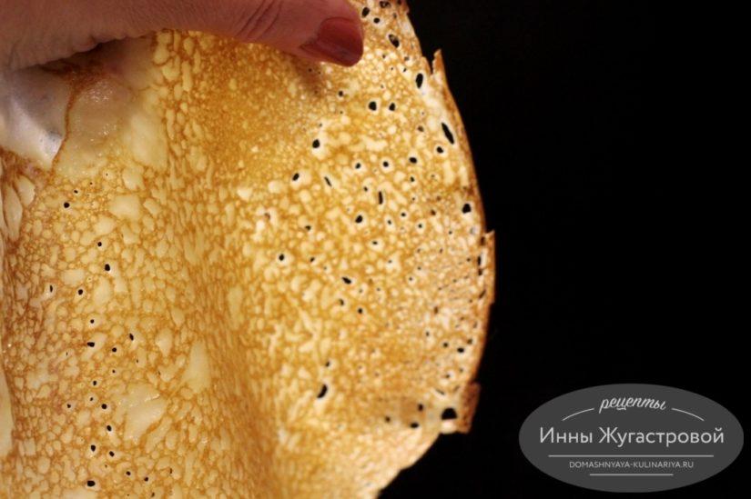 Ажурные блины из заварного теста на кефире и кипятке
