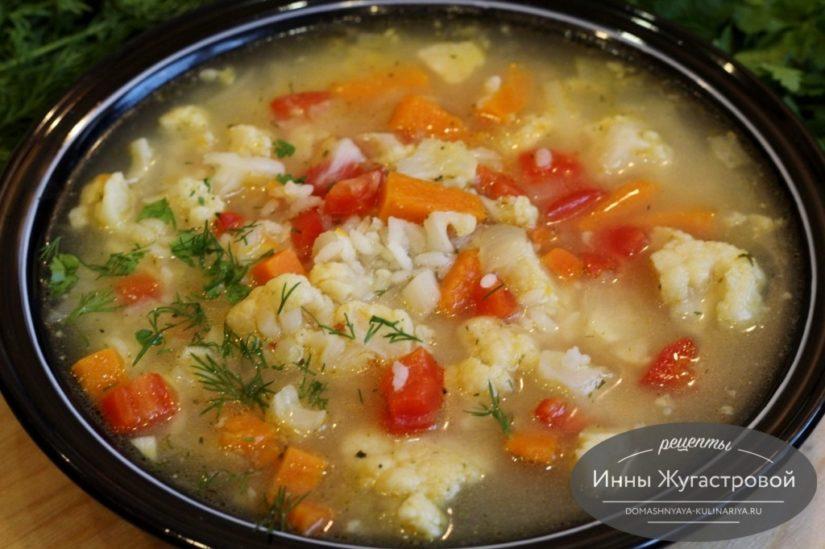 Рисовый суп с замороженными овощами (готовыми овощными смесями)