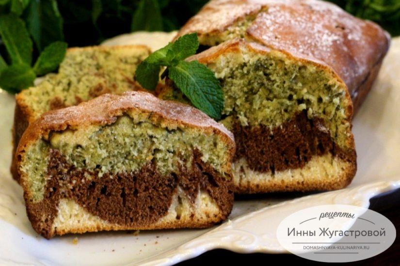 Мятный шоколадный трехцветный кекс, красивый, ароматный, простой