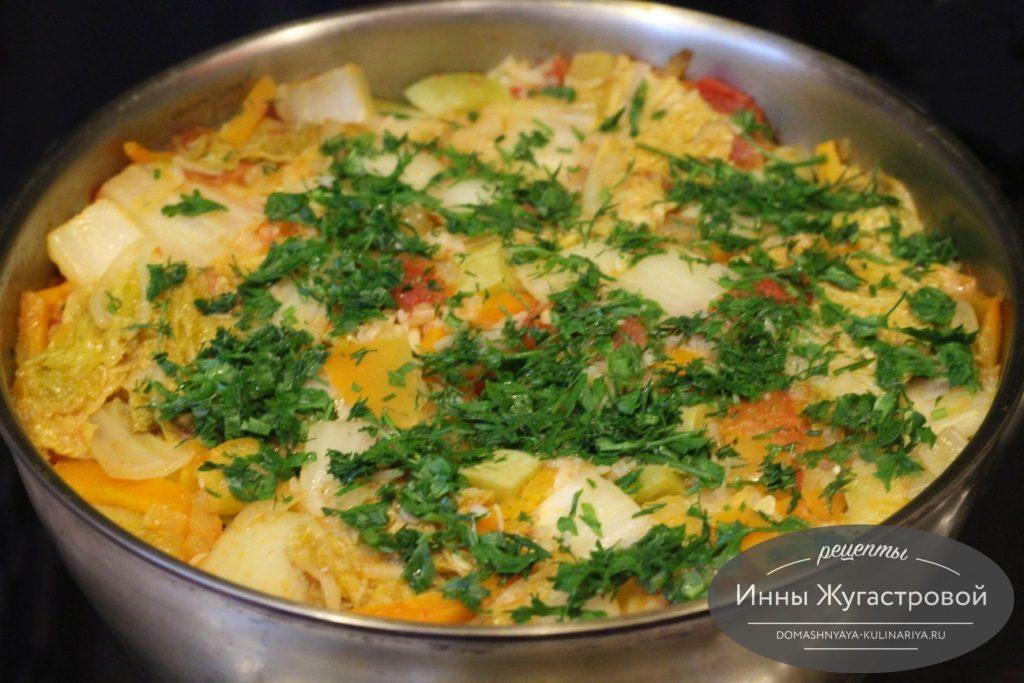 Рис с овощами и мясом (овощное рагу с рисом)