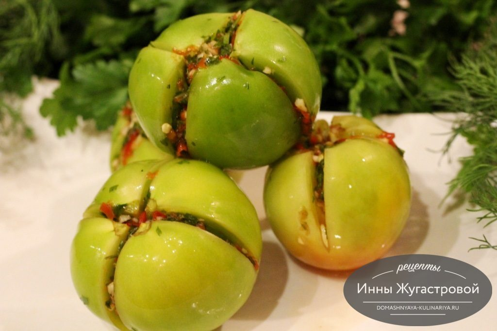 Квашеные соленые зеленые помидоры