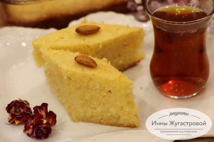 Апельсиновый Ревани. Турецкий десерт, влажный манный пирог в апельсиновом сиропе