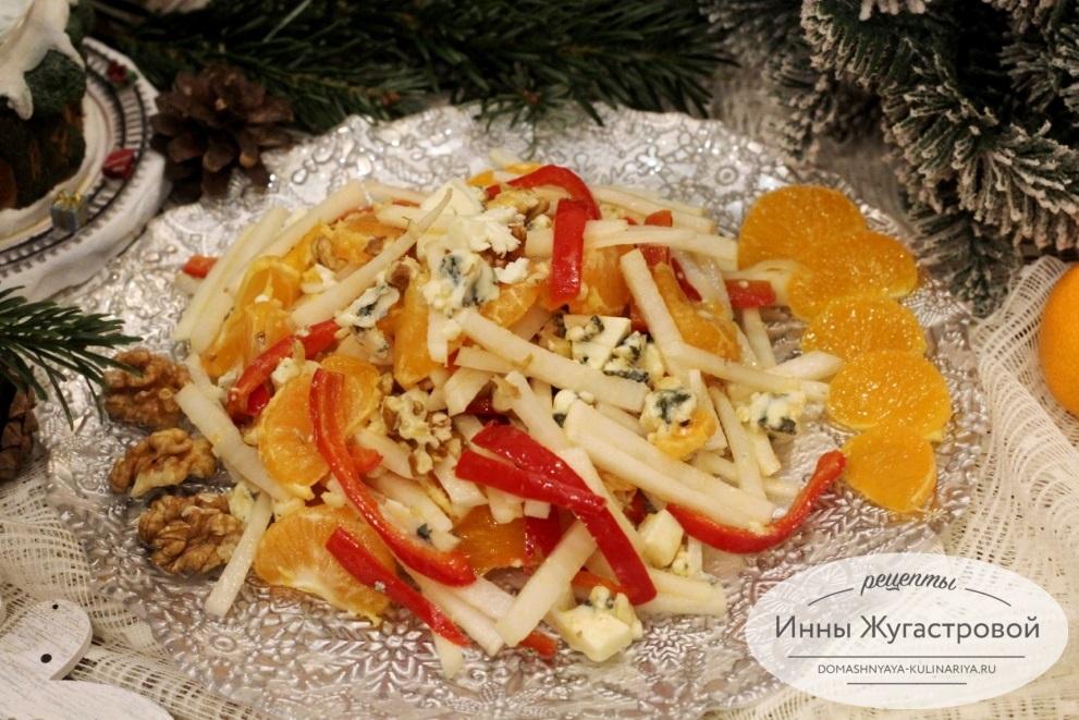 Салат из горгонзолы с мандаринами
