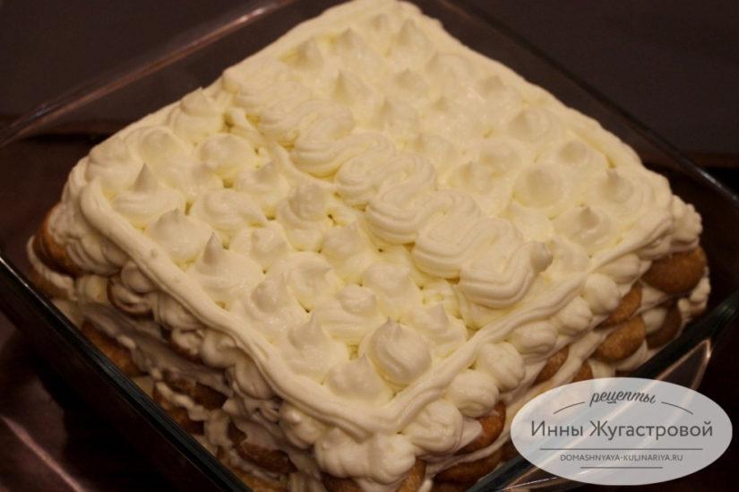 Тирамису по классическому рецепту из бисквитного печенья со сливочно-сырным кремом
