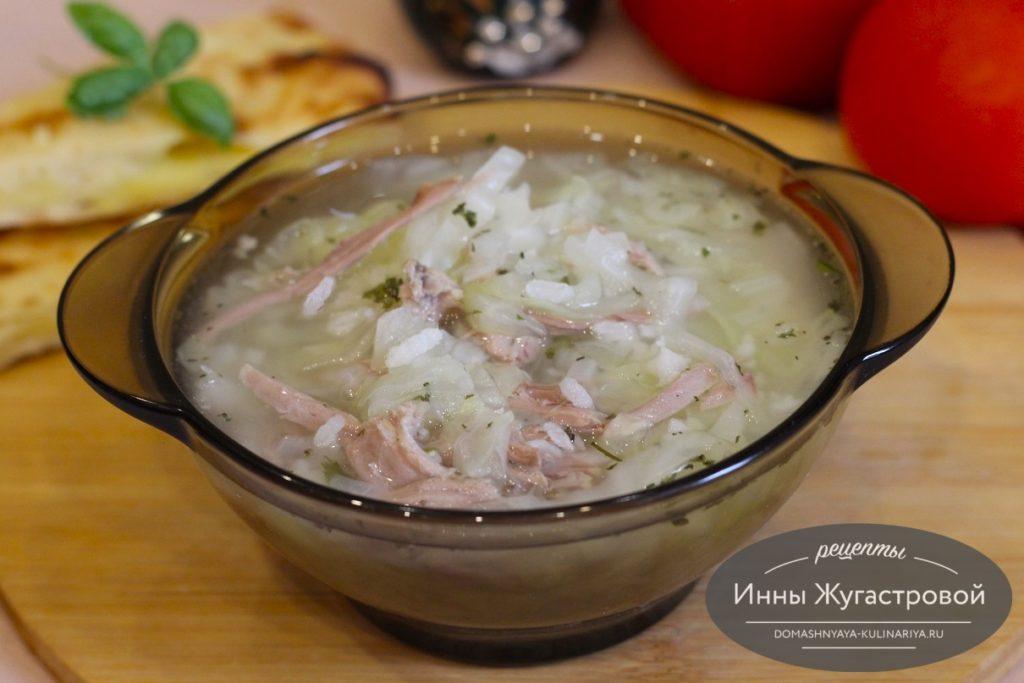 Индюшиный суп с капустой и рисом