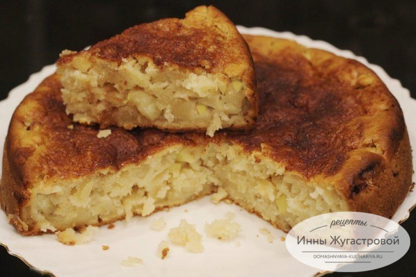 Яблочный пирог на кефире без яиц, влажный, нежный, ароматный и простой