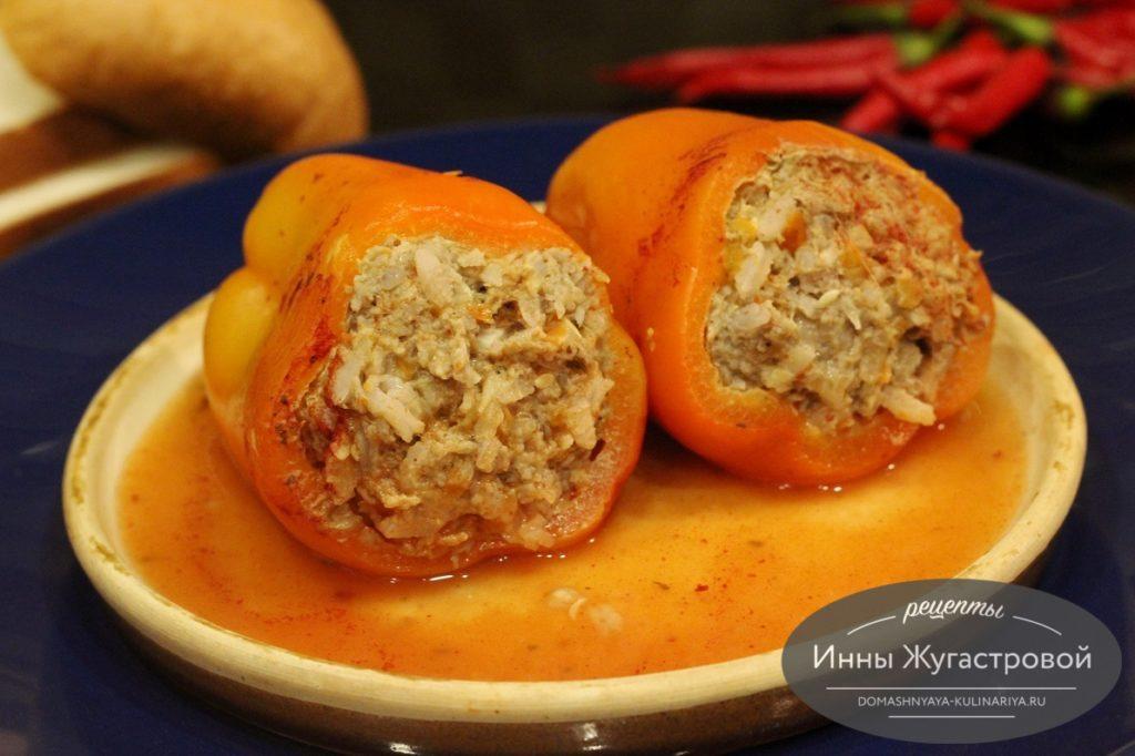 Перец с мясом и рисом в мультиварке