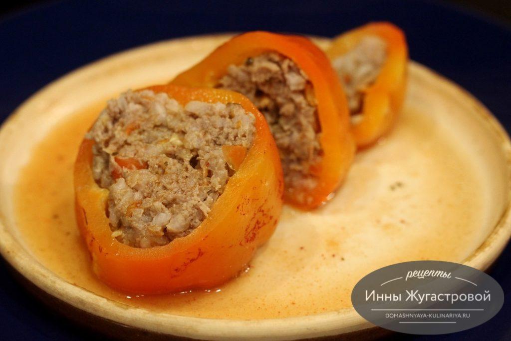 Перец, фаршированный мясом с рисом в мультиварке