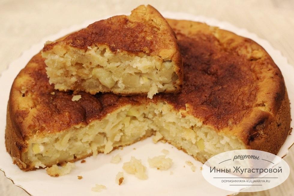 Яблочный пирог на кефире без яиц