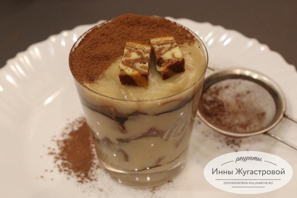 Слоеный десерт без выпечки